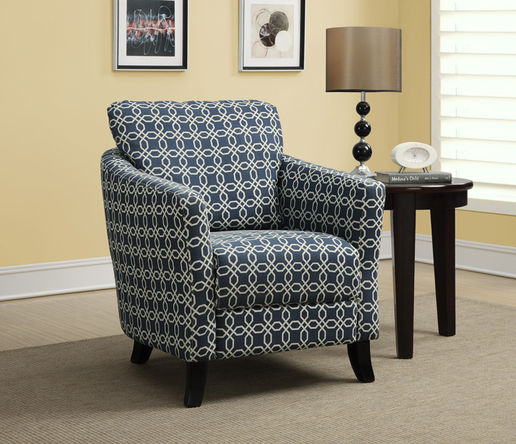 "Accent Chair - Dark Blue "" Angled Kaleidoscope "" Fabric"