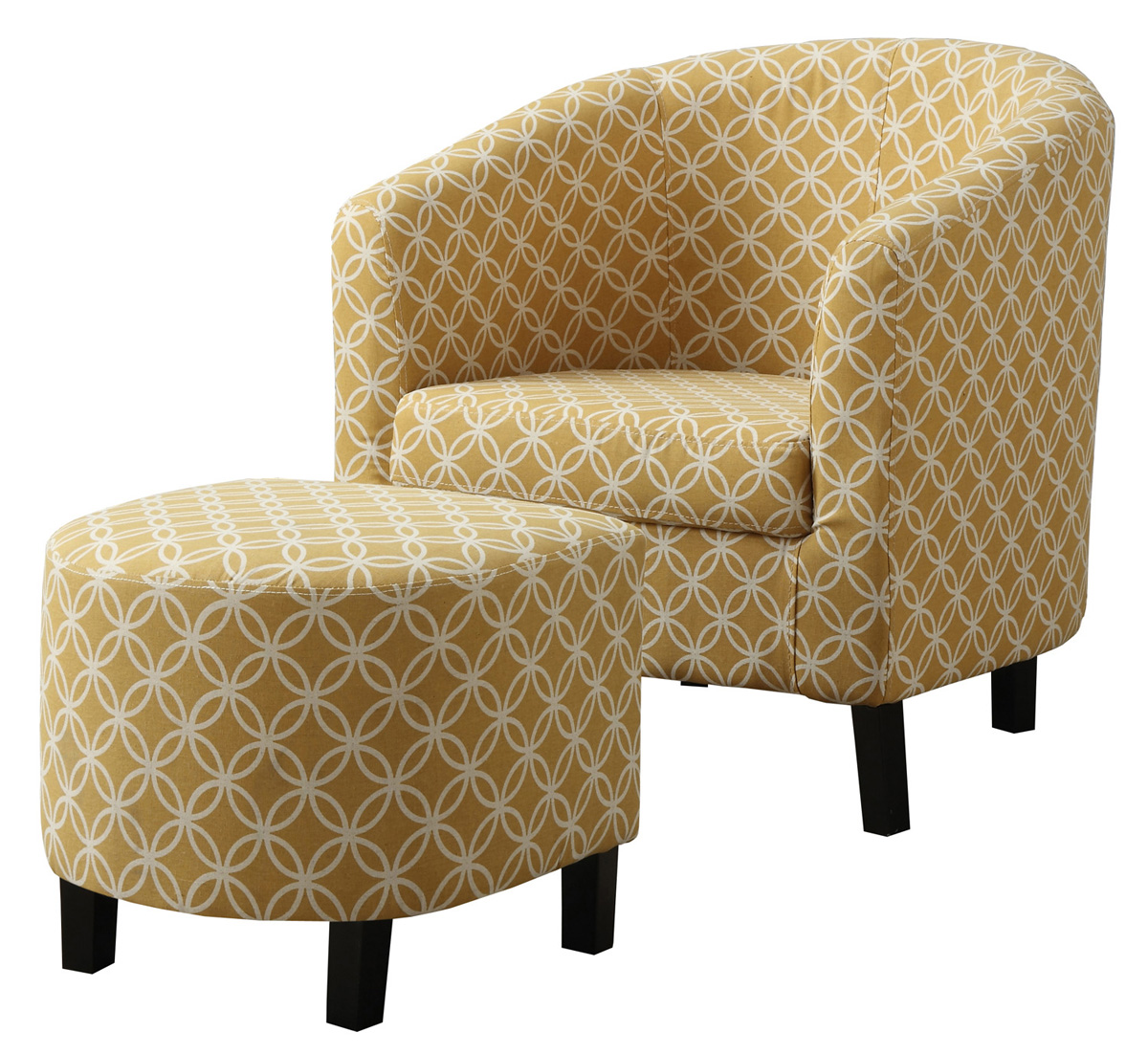 "Accent Chair - 2 Pieces Set/ Burnt Yellow "" Circular """