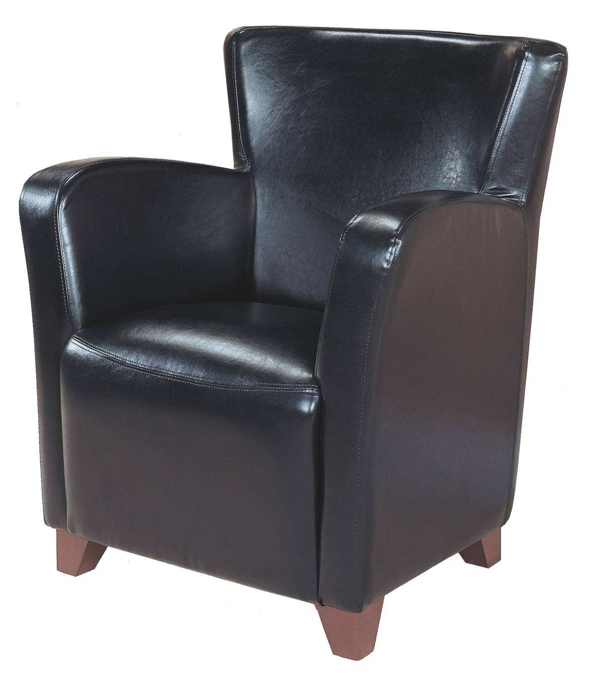 Accent Chair - Black Leather-Look Fabric
