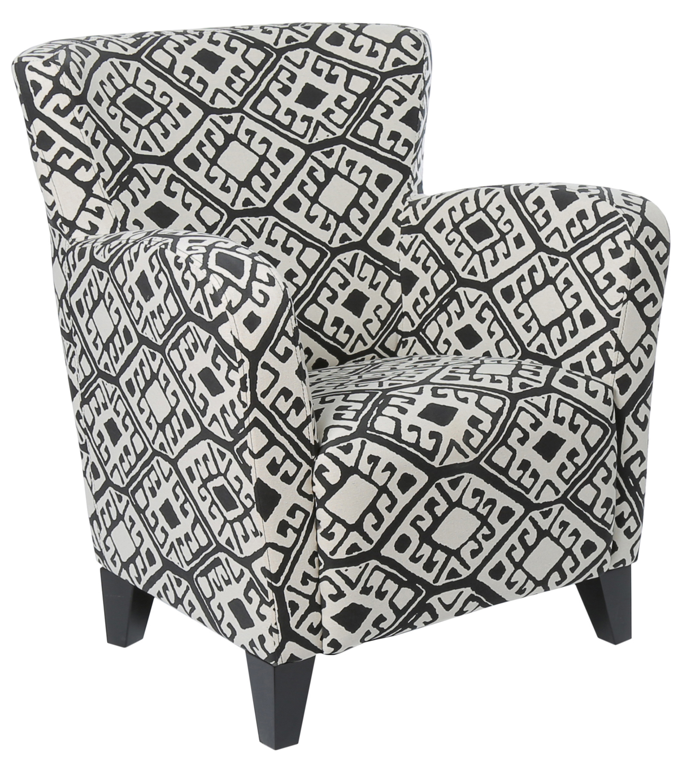 "Accent Chair - Black / Beige "" Abstract "" Fabric"