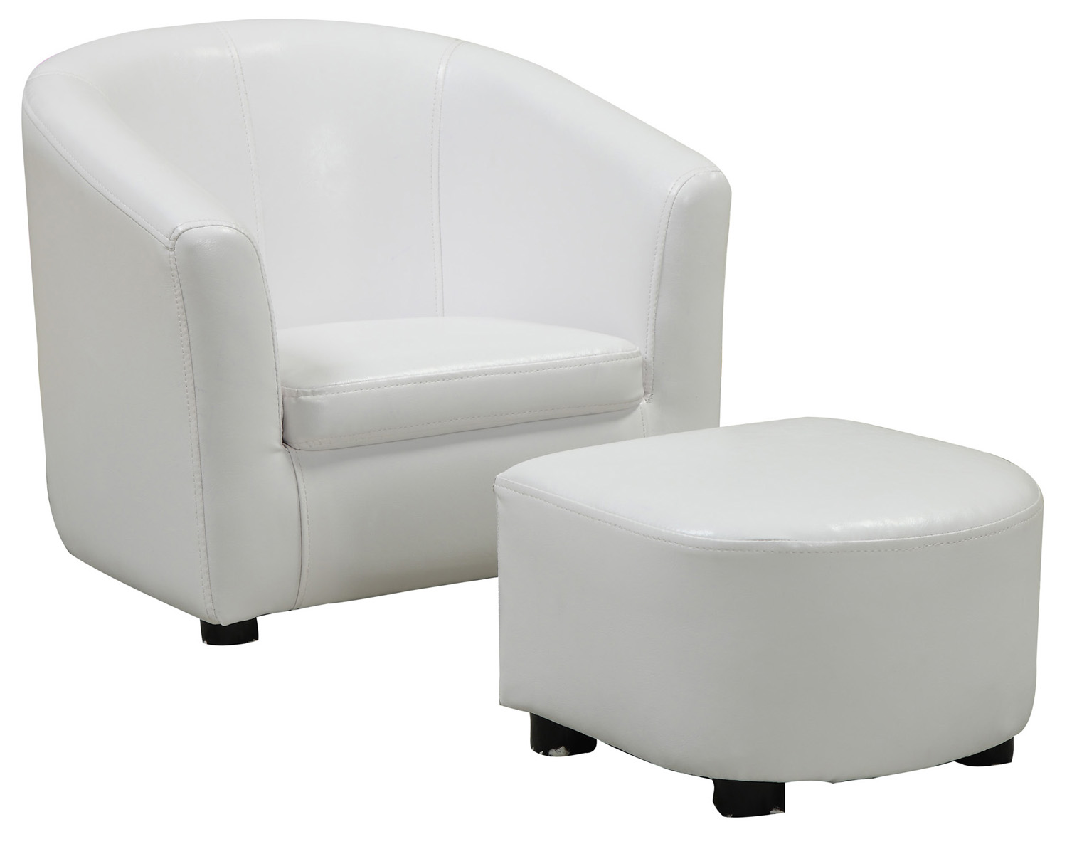 Juvenile Chair - 2 Pieces Set / White Leather-Look Fabric