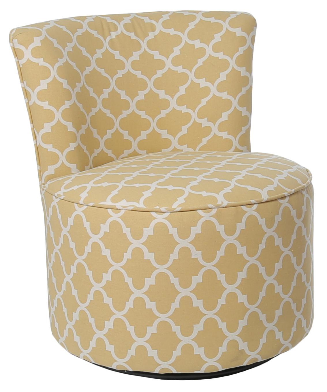 "Accent Chair - Swivel Base / Gold "" Lantern "" Fabric"