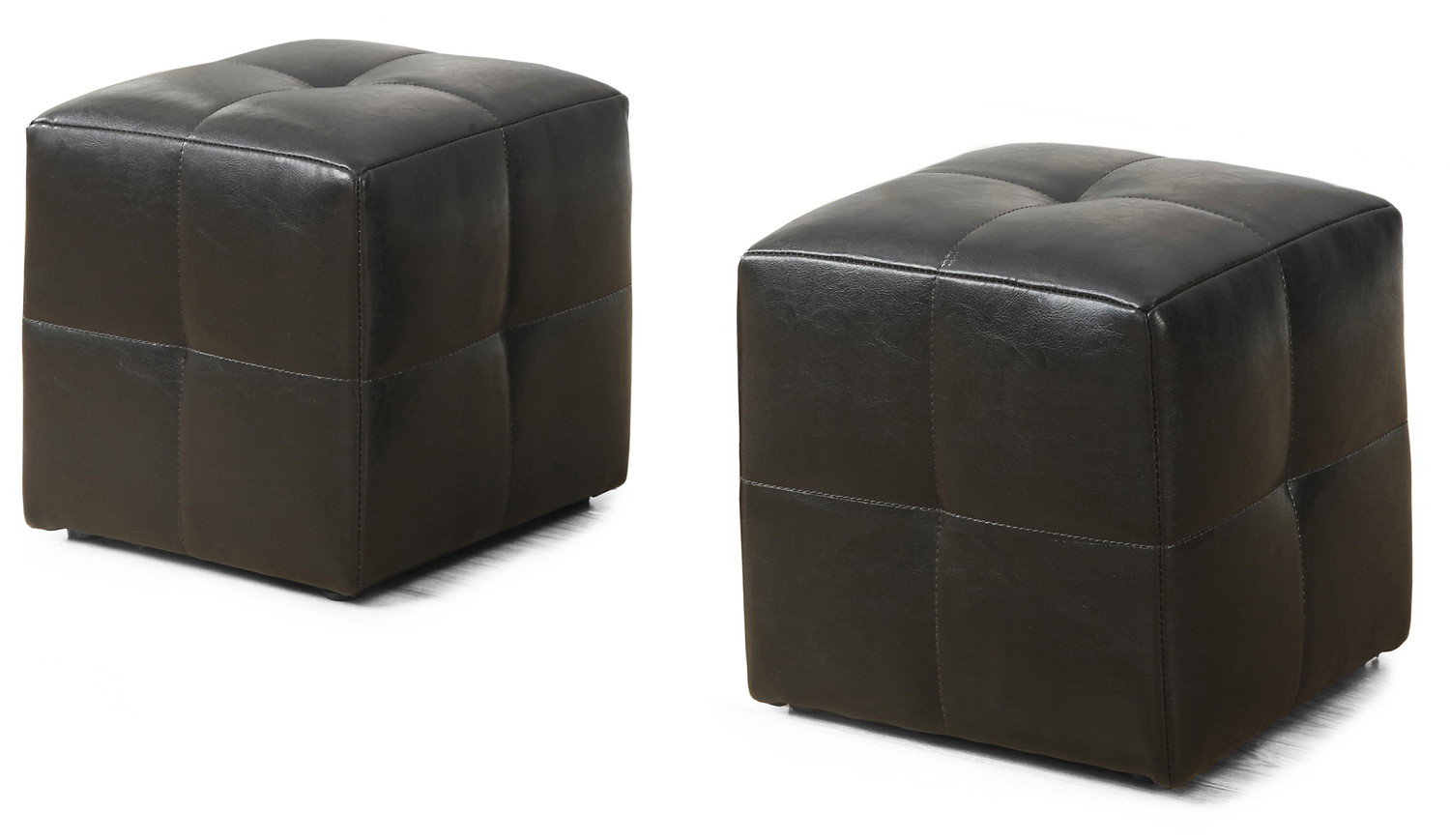 2 Piece Juvenile Ottoman Set, Dark Brown Leather-Look