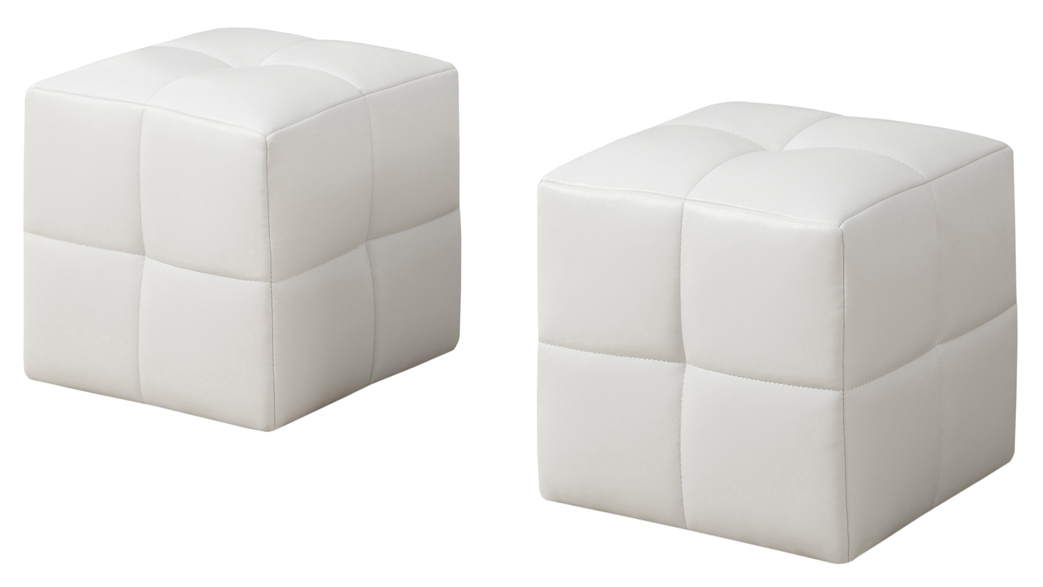 2 Piece Juvenile Ottoman Set, White Leather-Look