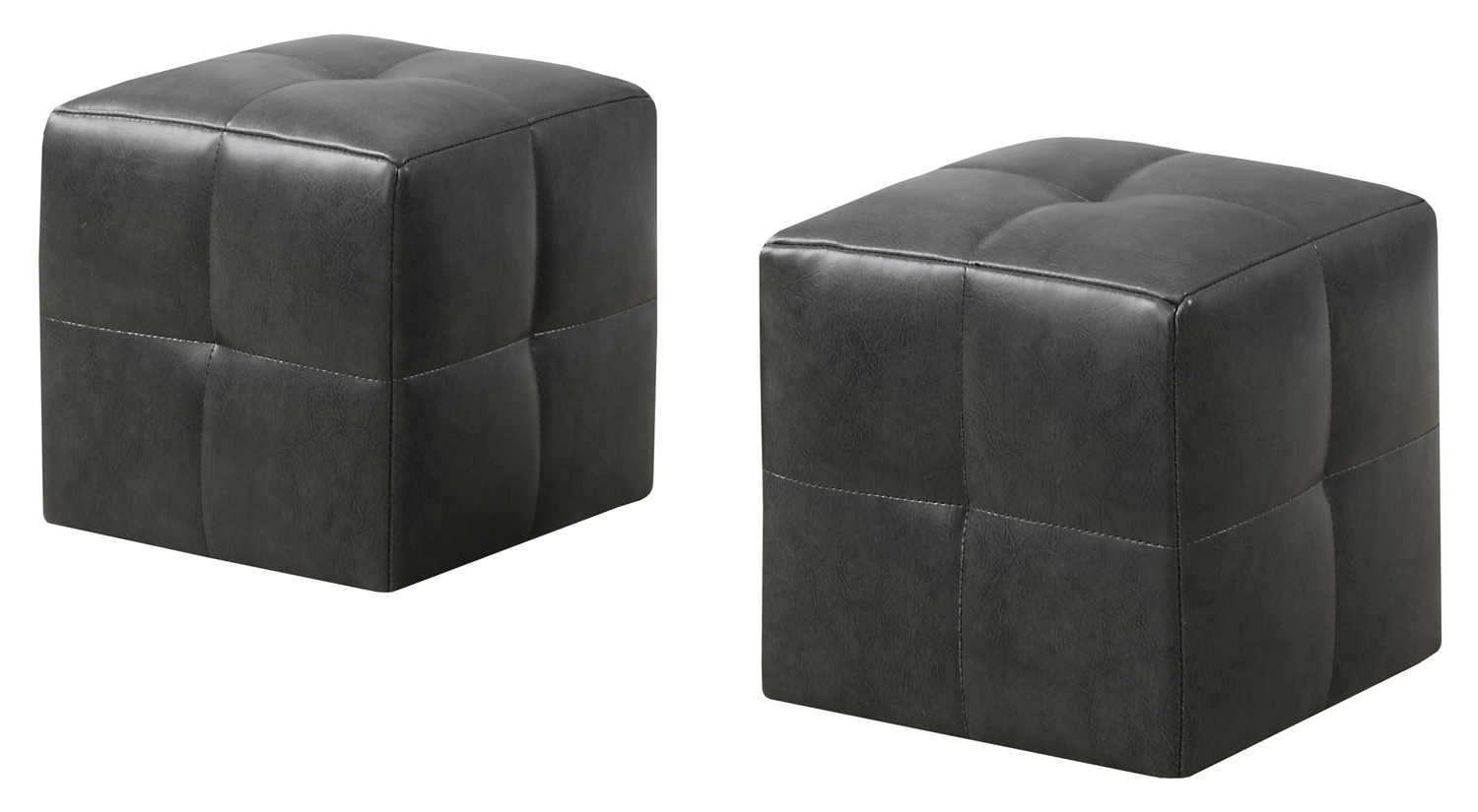 2 Piece Juvenile Ottoman Set, Charcoal Gray Leather-Look