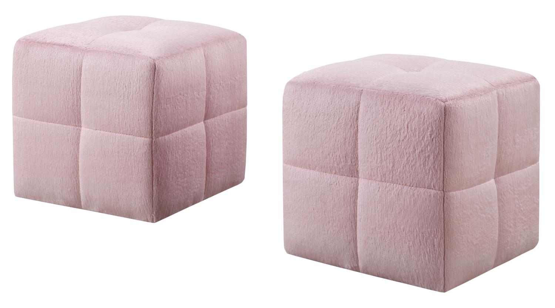 2 Piece Juvenile Ottoman Set, Fuzzy Pink Fabric