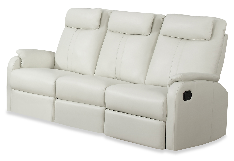 Reclining - Sofa Ivory Bonded Leather