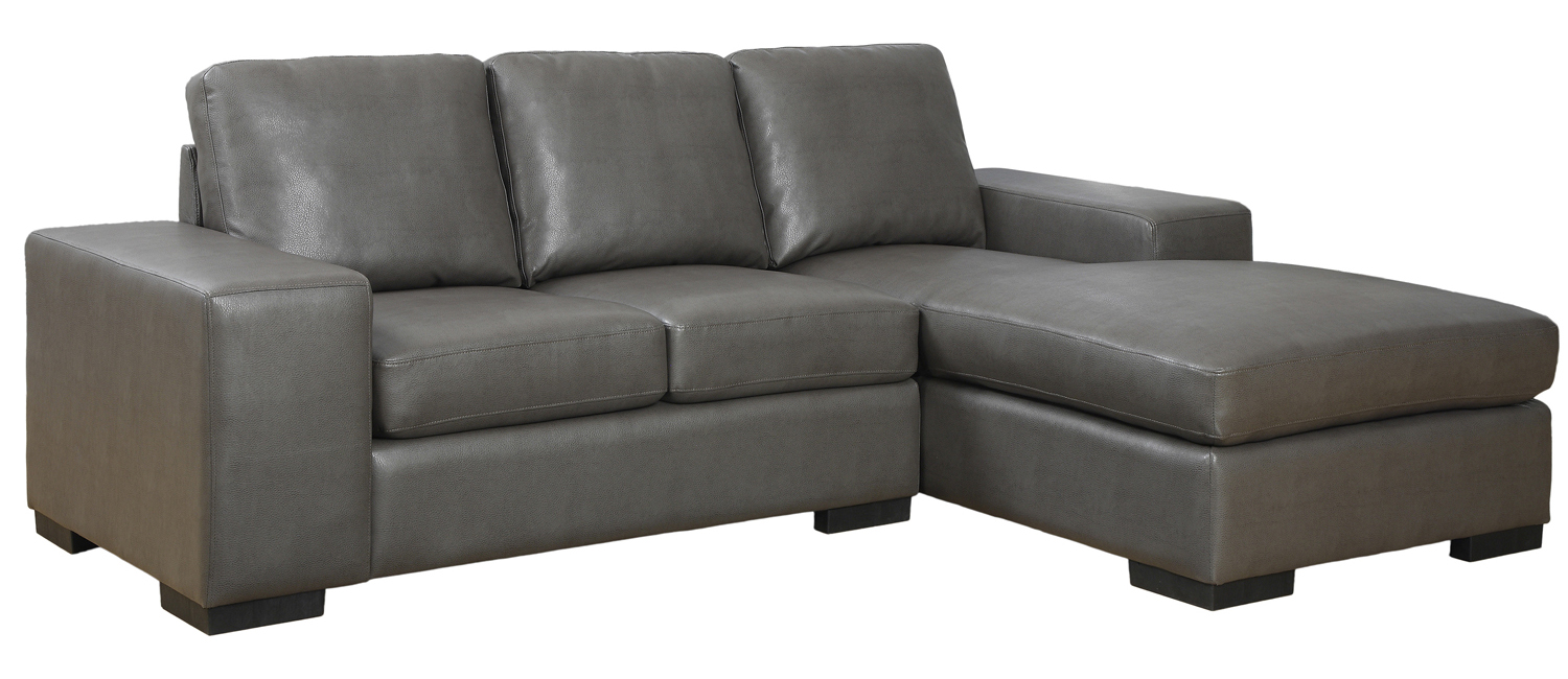 Sofa Lounger - Charcoal Grey Bonded Leather / Match