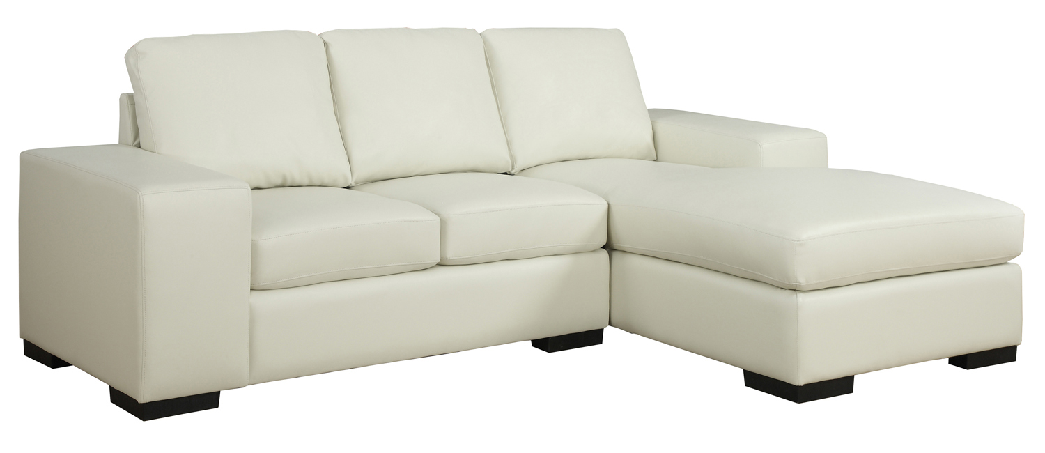 Sofa Lounger - Ivory Bonded Leather / Match