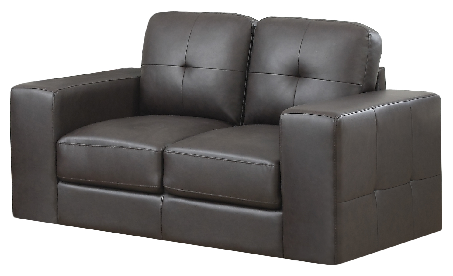 Love Seat - Dark Brown Bonded Leather