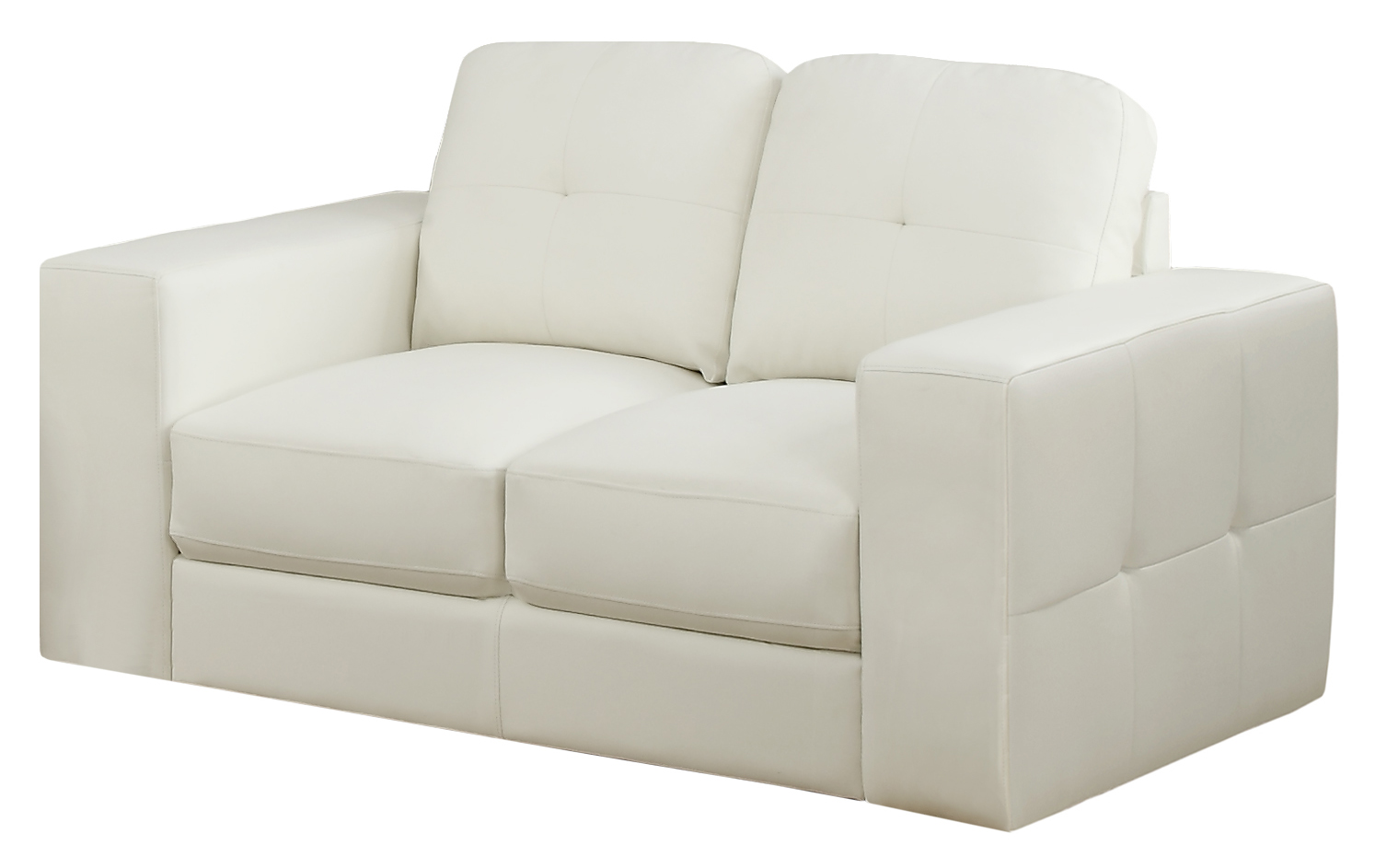 Love Seat - Ivory Bonded Leather