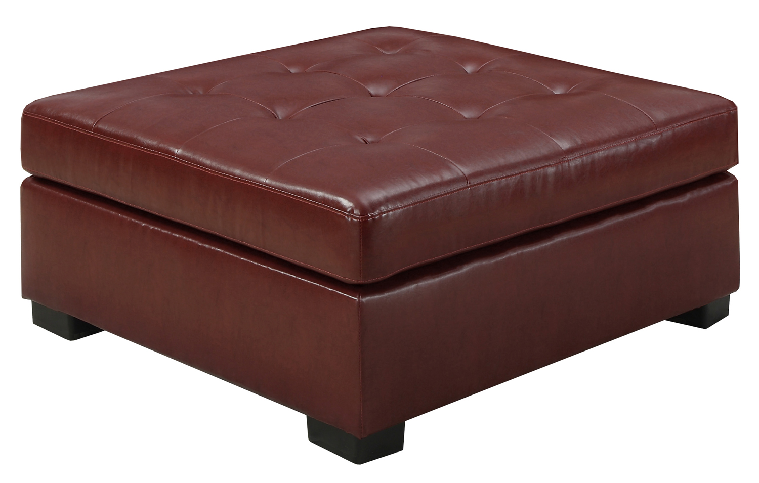 Ottoman - Red Bonded Leather / Match