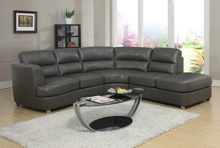 Sofa - Sectional / Dark Grey Bonded Leather / Match