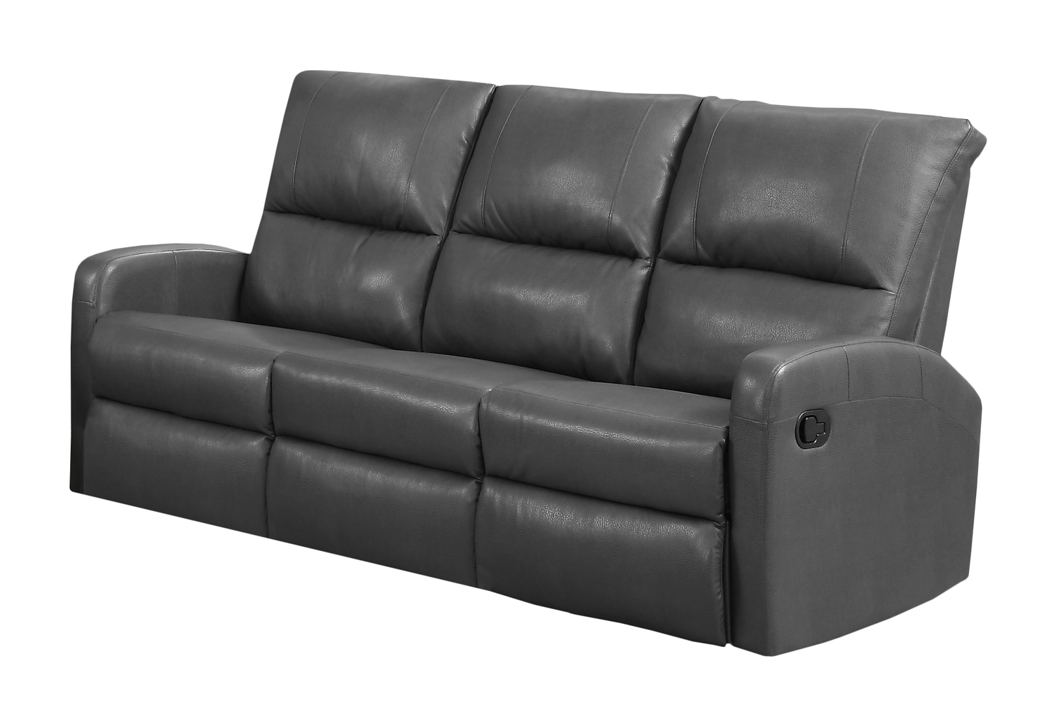 Reclining-Sofa Charcoal Grey Bonded Leather