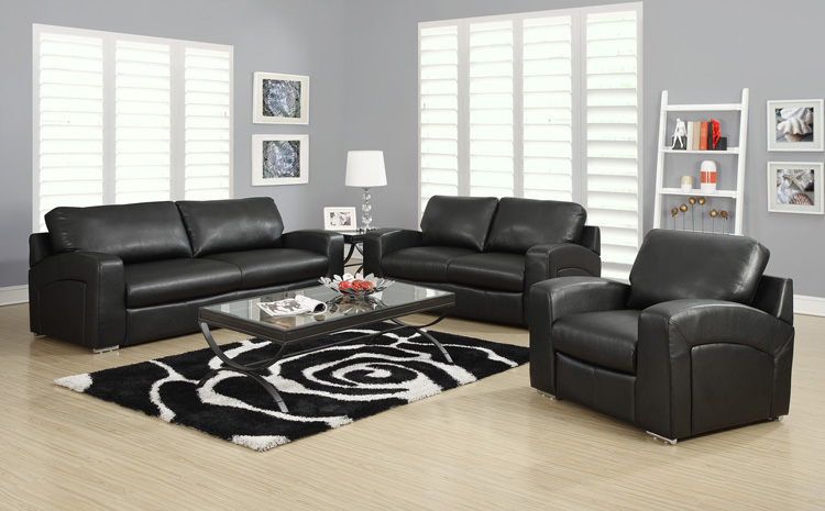 Love Seat - Black Bonded Leather / Match