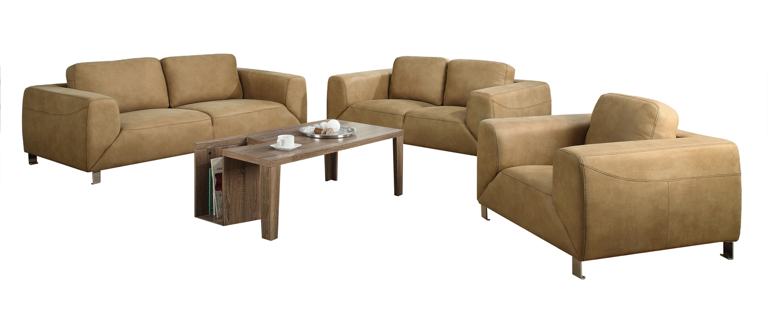 Love Seat - Tan / Chocolate Brown Contrast Micro-Suede