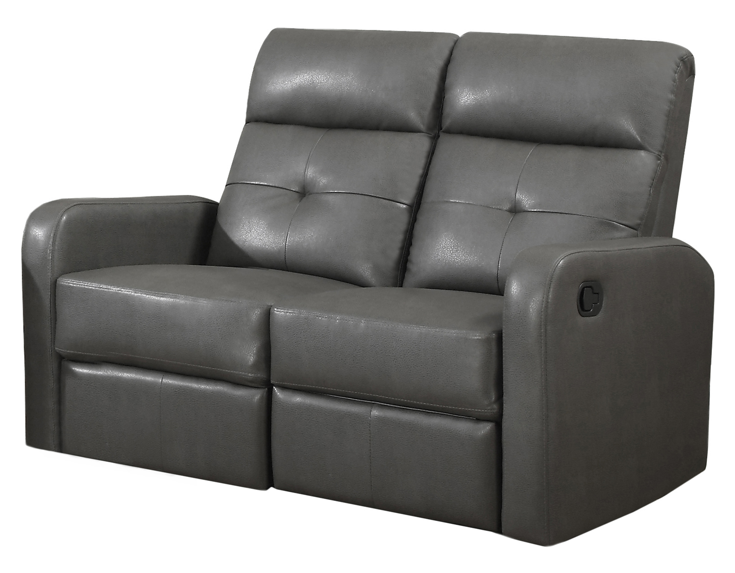 Reclining - Love Seat Charcoal Grey Bonded Leather