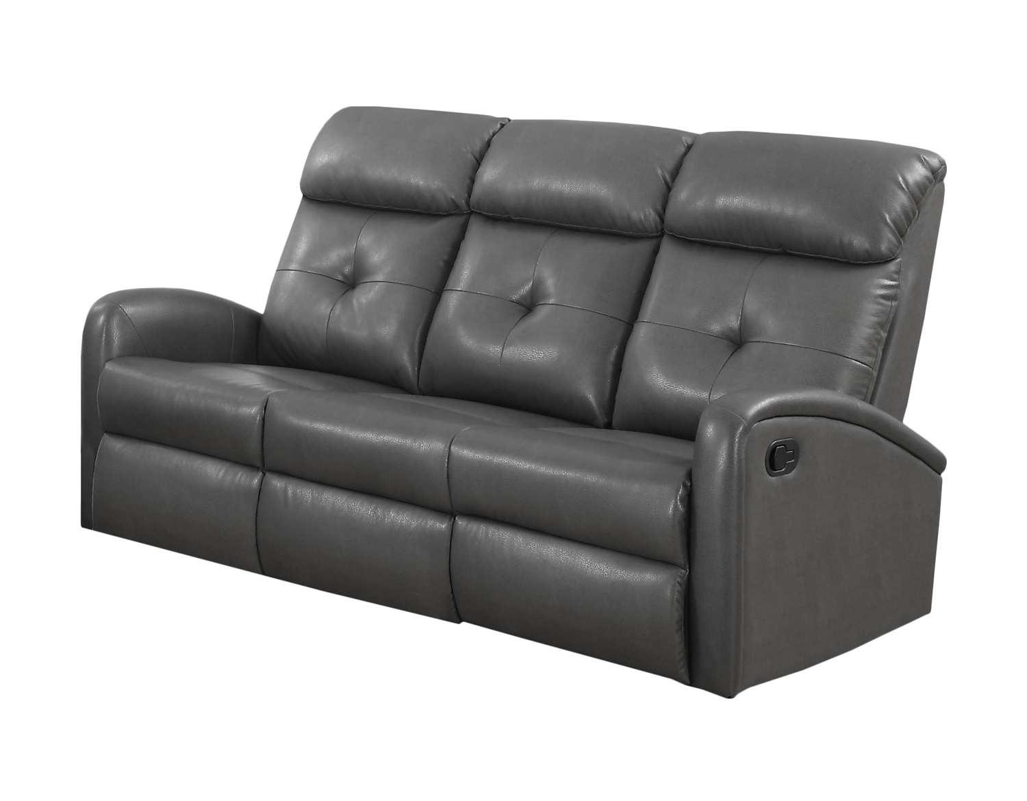Reclining-Sofa Charcoalgrey Bonded Leather