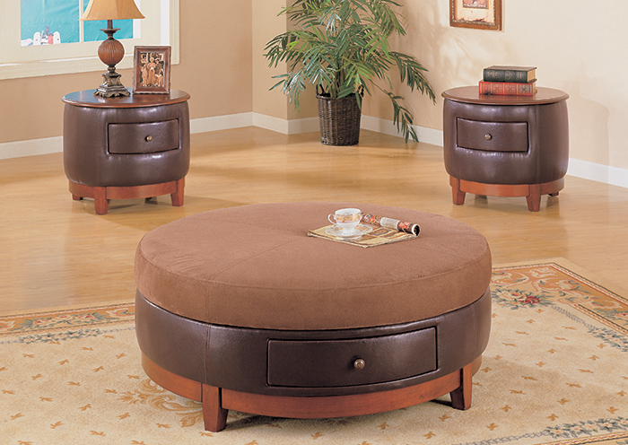 """Coffee Table - 42""""Dia / Brown Micro-Fibre / Leather-Look"""