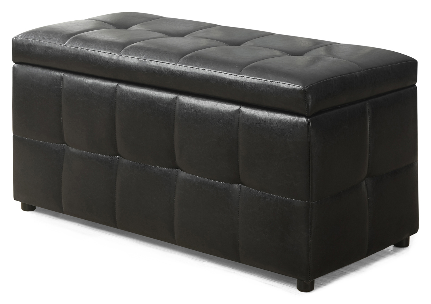 "38"" Leather-Look Ottoman with Flip Top Storage, Dark Brown"