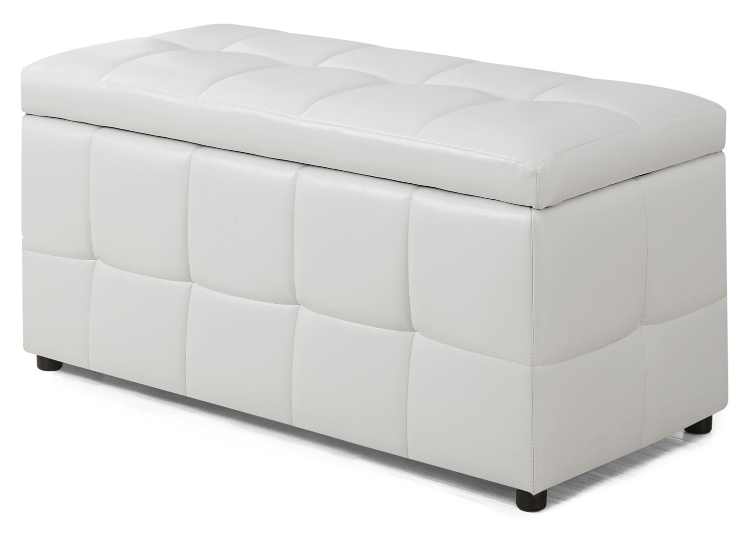"38"" Leather-Look Ottoman with Flip Top Storage, White"
