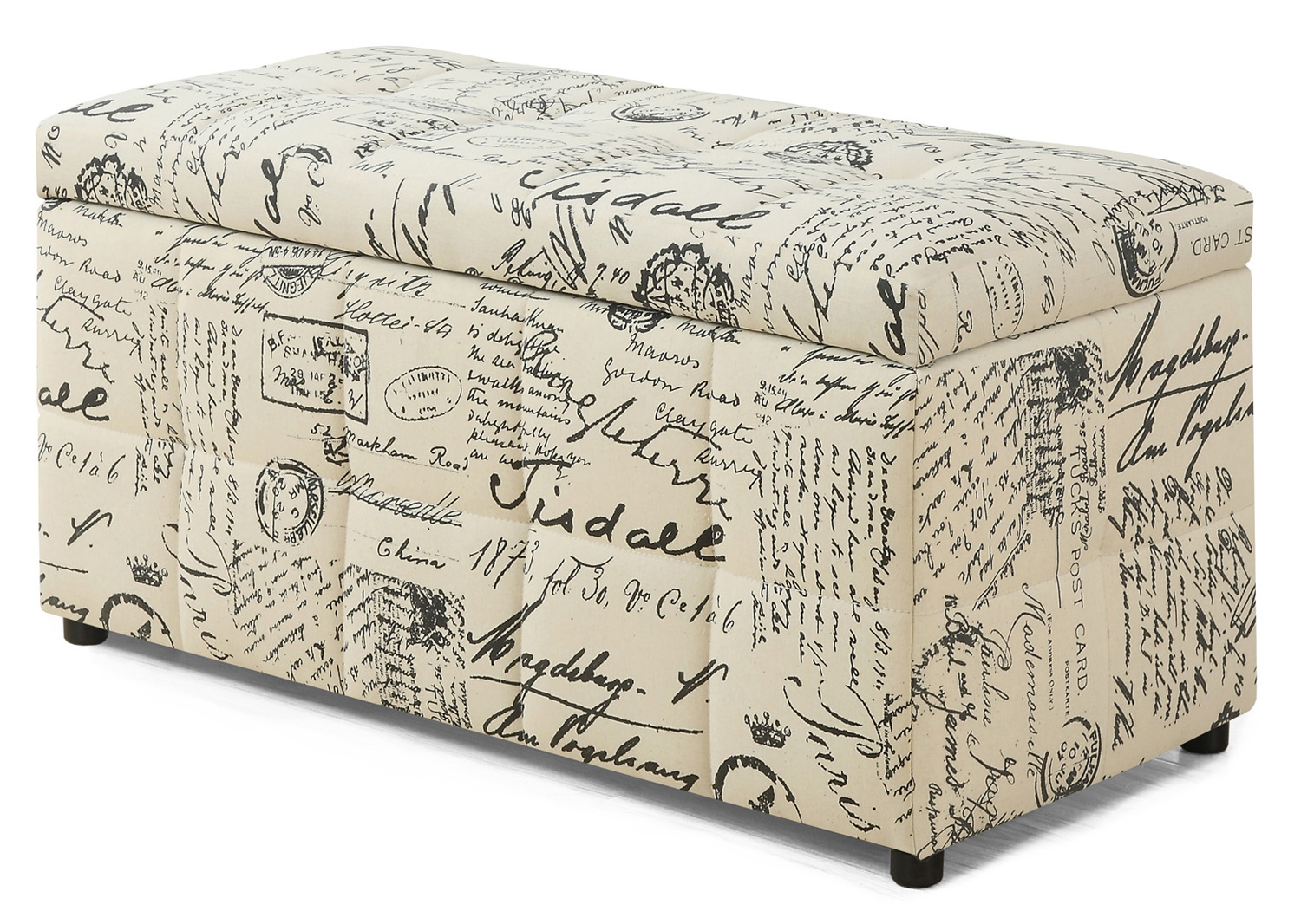 "38"" Versatile Ottoman with Flip Top Storage, Vintage French Fabric"