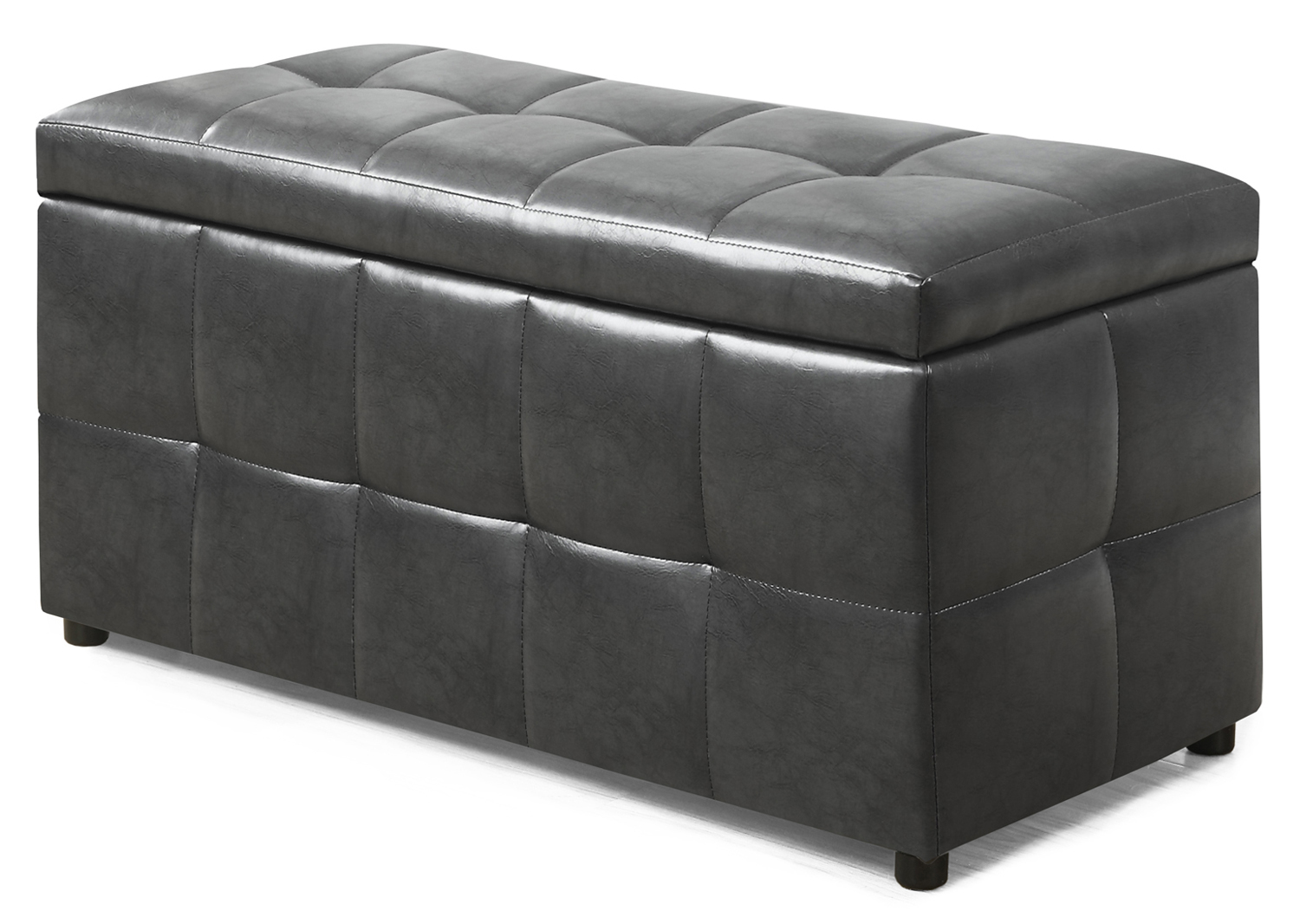 "38"" Leather-Look Ottoman with Flip Top Storage, Charcoal Gray"