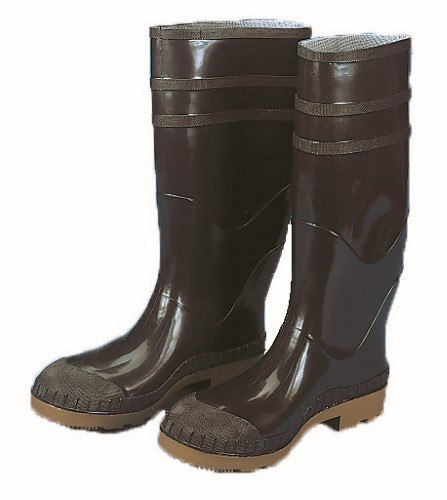 16 in. PVC Work Boot Over The Sock, Black Plain Toe, Size 12