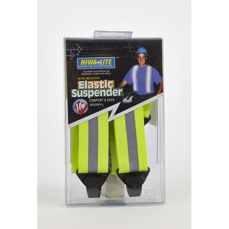 Reflective Elastic Adjustable Suspender, 50 in. Length x 1-1/2 in. Width, Lime