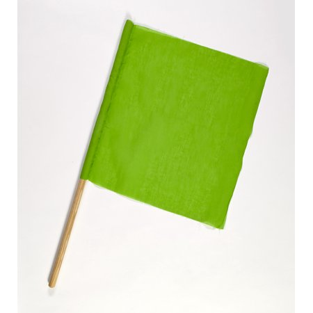 Cloth Signal Traffic Warning Flag, Green, 18 in. x 18 in. x 24 in. (Pack of 10)