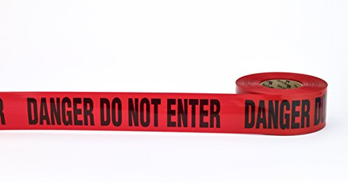 "Barricade Tape, ""Danger Do No Enter"", 3 mil, 3"" x 300', Red (Pack of 16)"