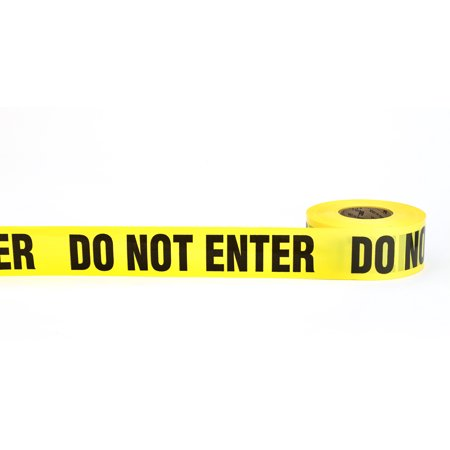 """Barricade Tape, """"Do No Enter"""", 3 mil, 3"""" x 300', Yellow (Pack of 16)"""