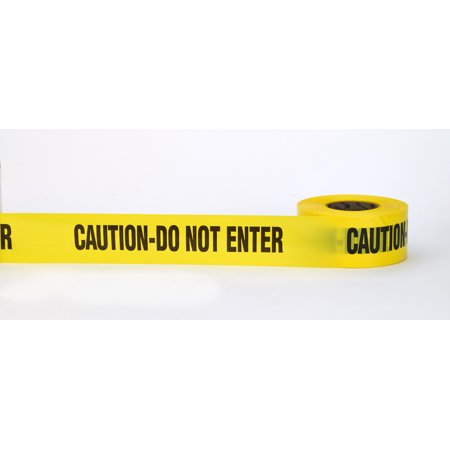 """Barricade Tape, """"Caution Do No Enter"""", 3 mil, 3"""" x 300', Yellow (Pack of 16)"""