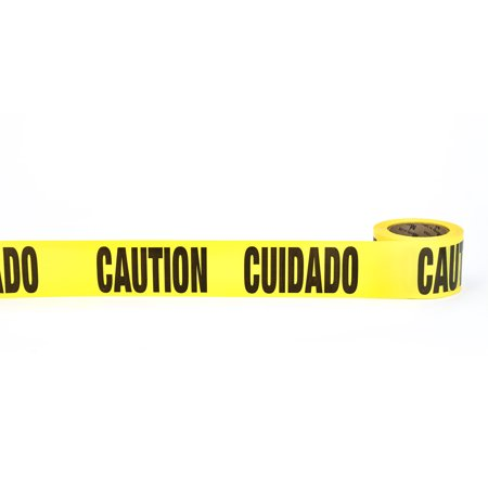 """Barricade Tape, """"Cuidado Caution"""", 3 mil, 3"""" x 300', Yellow (Pack of 16)"""