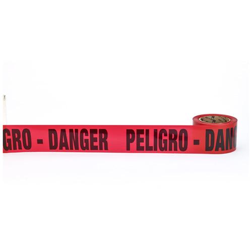 """""""Peligro Danger"""" Barricade Tape, 3"""" x 300', Red"""