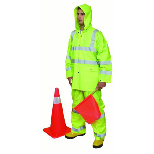 3 Piece PVC/High Visibility Polyester ANSI Class 3 Rain Suit, 4X-Large, Lime
