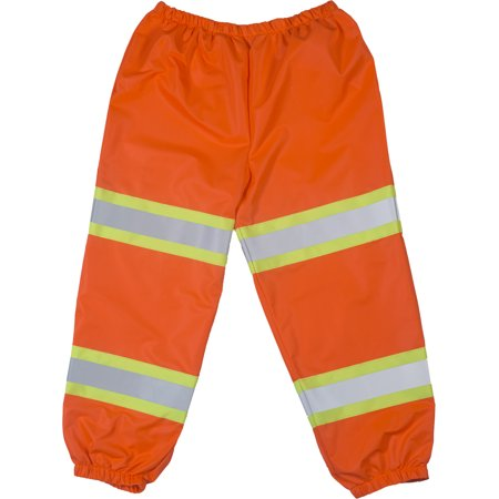 "High Visibility Polyester ANSI Class E Pant with 2"" Lime/Yellow Reflective Tapes, Orange"