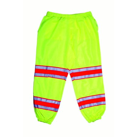 "High Visibility Polyester ANSI Class E Pant with 4"" Silver/Orange/Silver Reflective Tapes, Lime"