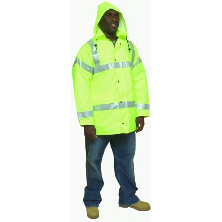 "High Visibility Polyester ANSI Class 3 Winter Parka Safety Coat with Heavy Insulation and 2"" Silver Reflective Stripes, Large, L"