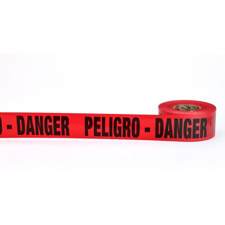 "3Mil Barricade Tape, ""Peligro Danger"", 3"" x 1000', Red (Pack of 10)"