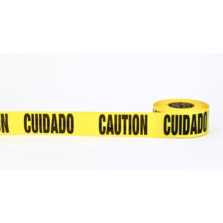 "3Mil Barricade Tape, ""Cuidado Caution"", 3"" x 1000', Yellow (Pack of 10)"