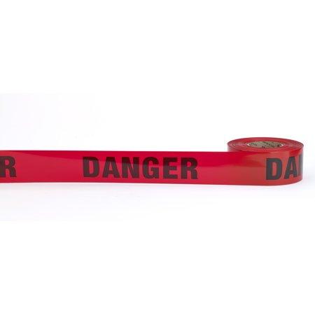 "Barricade Tape, ""Danger"", 2 mil, 3"" x 1000', Red (Pack of 10)"