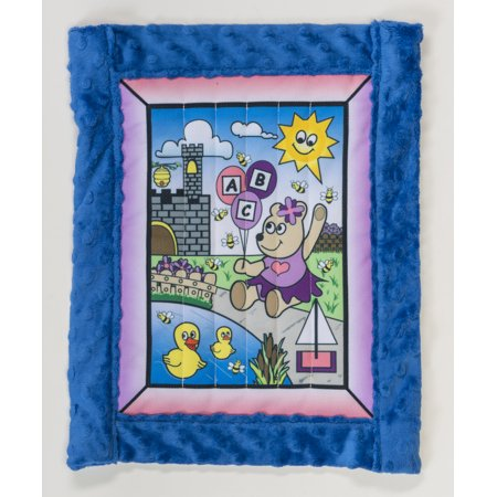 "Baby quilt kit, Girl Bear w/ blue minkee back 25"" x 32"""