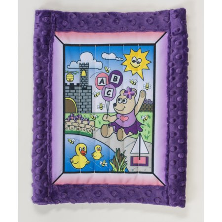 "Baby quilt kit, Girl Bear w/ purple minkee back 25"" x 32"""