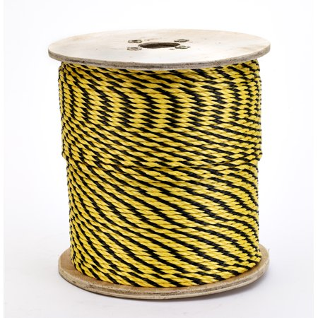 3-Strand Twisted Polypropylene Safety Rope, 1490 lbs Tensile Strength, 1200 ft. Length x 1/4 in. Width, Yellow/Black