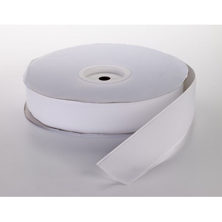 "Pressure Sensitive Hook Fastening Tape Roll, 25 yds Length x 1-1/2"" Width, White"