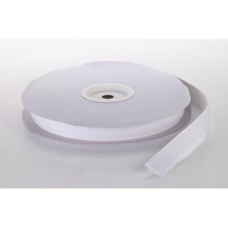 """Pressure Sensitive Loop Fastening Tape Roll, 25 yds Length x 1"""" Width, White"""