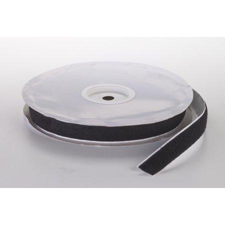 """Pressure Sensitive Loop Fastening Tape Roll, 25 yds Length x 1"""" Width, Black"""