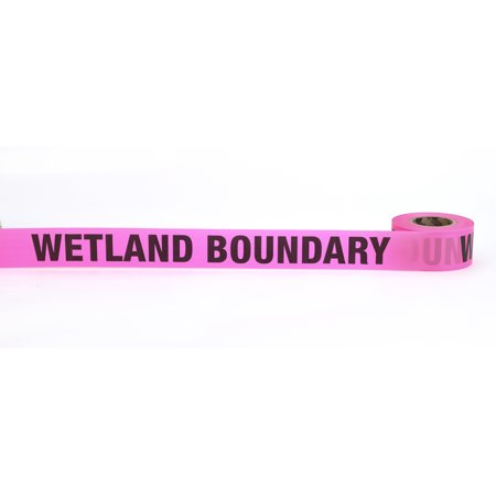 "Flagging Tape Printed ""Wetland Boundary"", 1-1/2"" x 50 YDS, Glow Pink (Pack of 9)"