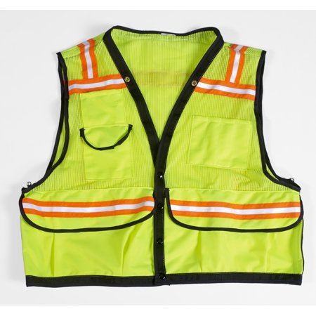 "High Visibility Mesh Super Deluxe Surveyor Vest with 2 Vertical and 2 Horizontal 1-1/2"" Lime/Silver/Lime Reflective Stripes, Lar"